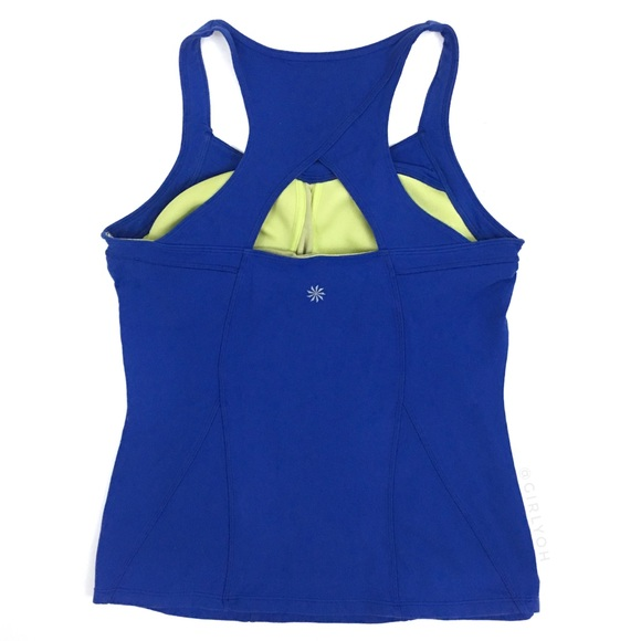 0b57443348 Athleta Tops | Blue Switch Back Yoga Racerback Tank Top S | Poshmark